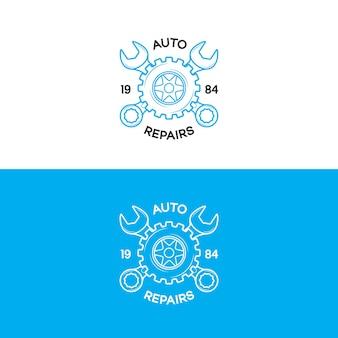 Auto naprawia logo zestaw z przekładnią i stylem linii klucza na białym tle na tle dla warsztatu samochodowego