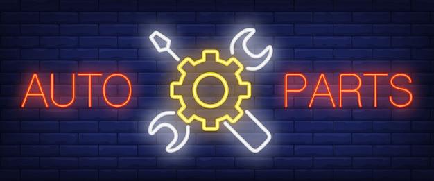 Auto parts podpisać w stylu neonowym
