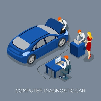 Auto service computer diagnostic isometric banner