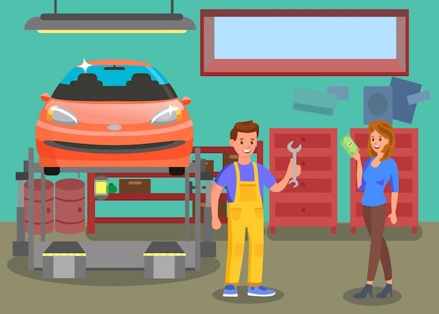 Auto service, ilustracja płaski kolor warsztatu