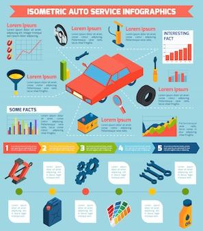 Auto service izometryczny infografiki