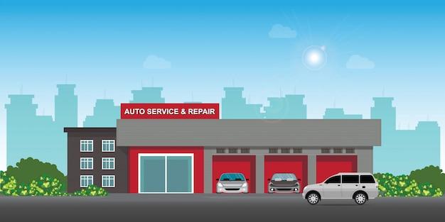 Auto serwis i centrum napraw samochodów lub garaż z samochodami.