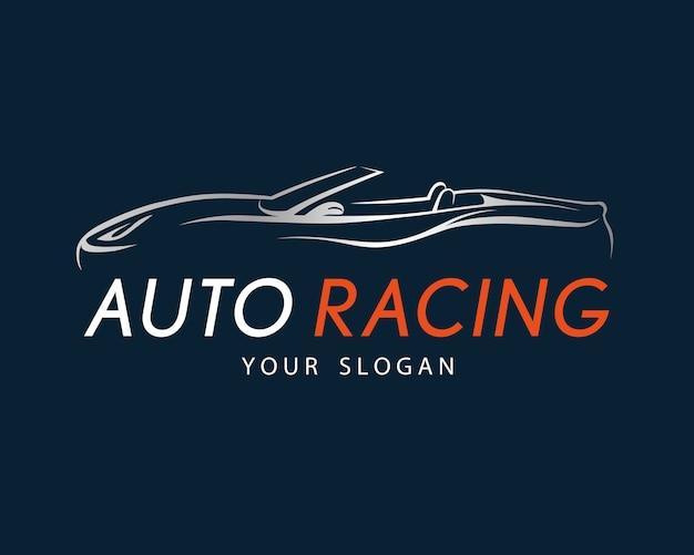 Auto wyścigi symbol na ciemnym niebieskim tle