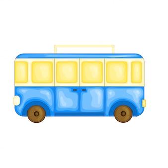 Autobus do podróży w uroczym stylu kreskówki. ilustracja wektorowa na białym tle