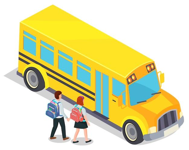 Autobus szkolny i uczniowie z plecakami
