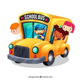 Autobus szkolny kreskówka i dzieci z płaska konstrukcja