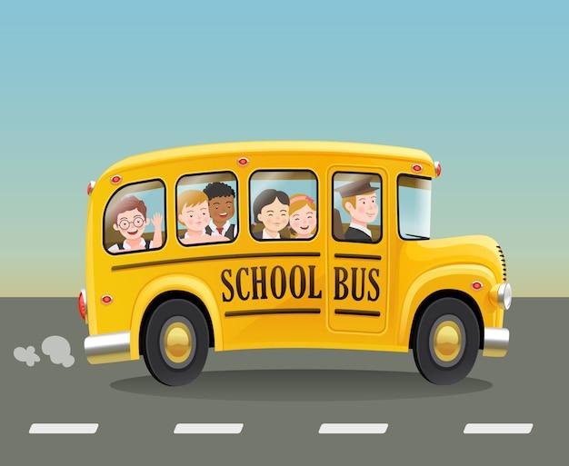 Autobus szkolny kreskówka z dziećmi.