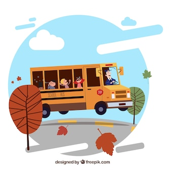 Autobus szkolny kreskówka z dziećmi