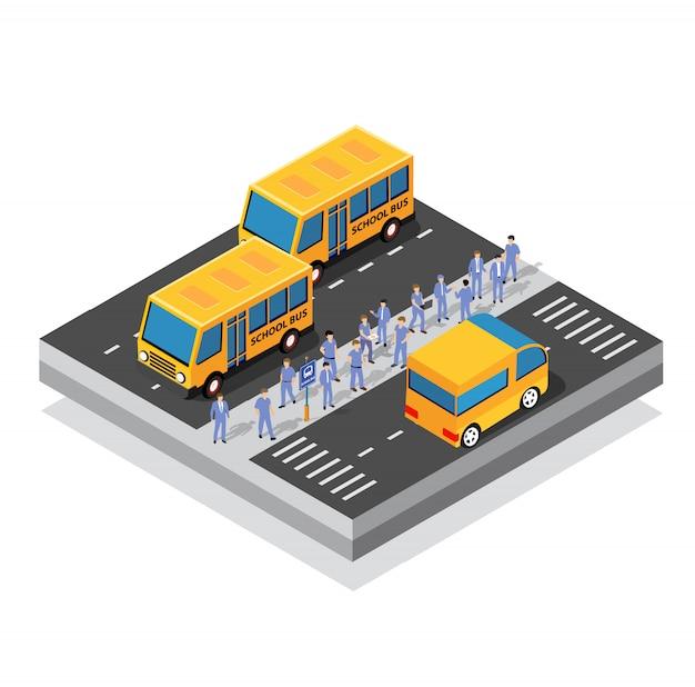 Autobus szkolny na parkingu przy ulicy
