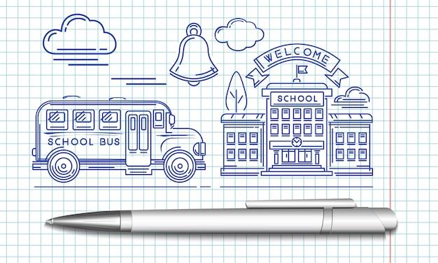 Autobus szkolny podjeżdża pod budynek szkoły. stylizowany wizerunek długopisu.