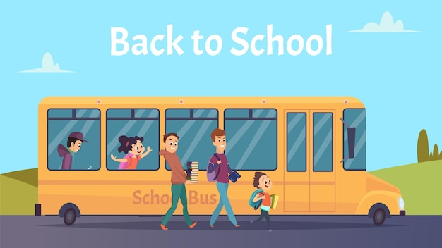 Autobus szkolny. transport studentów, szczęśliwe dziewczyny boya idą na studia