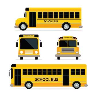 Autobus szkolny w kolorze żółtym z dwoma typami, widokiem z przodu i z boku