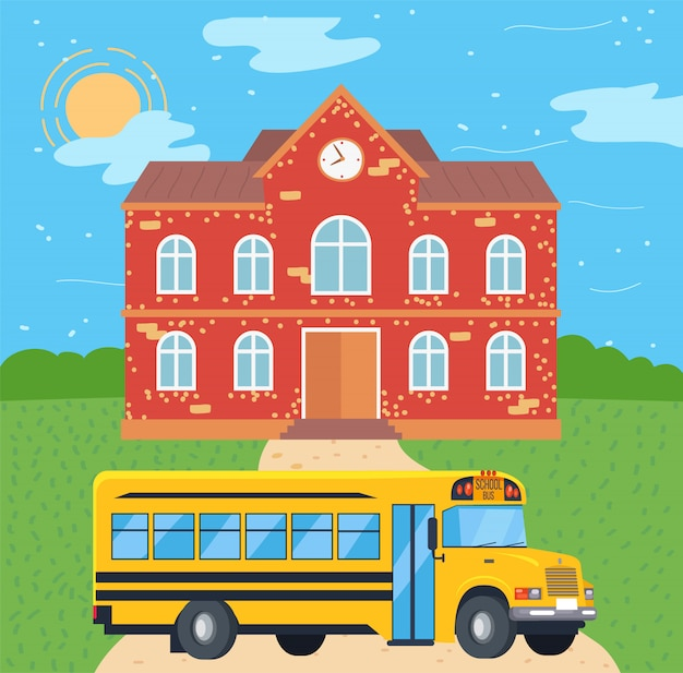 Autobus szkolny w pobliżu college