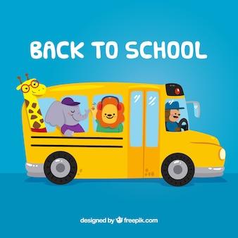 Autobus szkolny z dzikimi zwierzętami