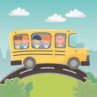 Autobus szkolny z grupą dzieci w krajobrazie
