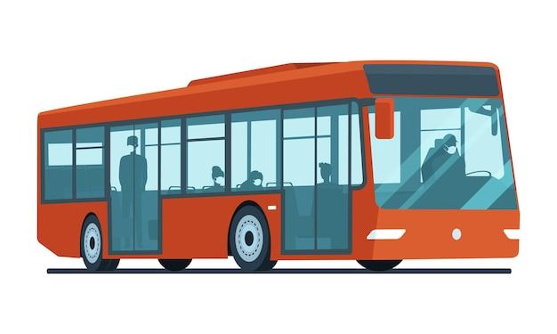 Autobus z pasażerami w maskach medycznych na białym tle. ilustracja wektorowa.