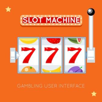 Automat online. sukces szczęścia, gra hazardowa, jackpot na automacie, ilustracja do automatu w kasynie. interfejs użytkownika hazardu wektor