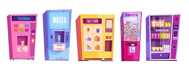 Automaty z przekąskami, fast foodami, wodą, lodami i słodyczami. kreskówka zestaw automatów sprzedających do sprzedaży żywności, cukierków i napojów na białym tle