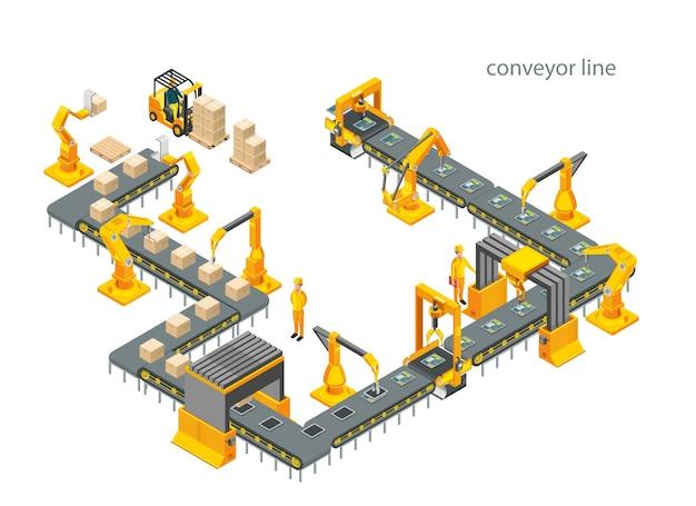 Automatyczna fabryka z taśmociągiem i ramionami robotów. proces składania. ilustracja