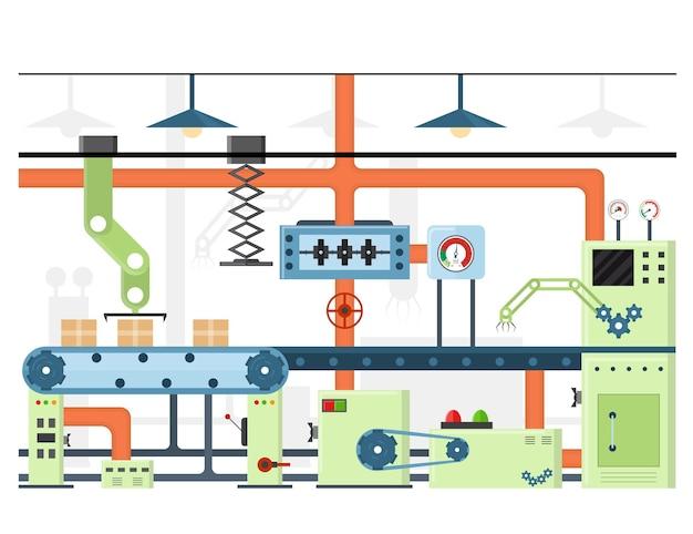 Automatyczna linia produkcyjna lub taśma przenośnika fabrycznego
