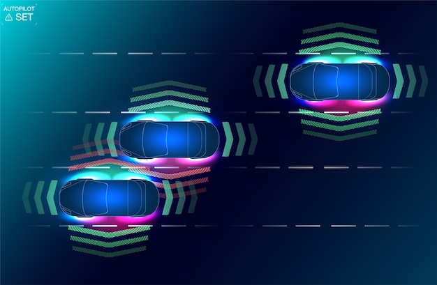 Automatyczny układ hamulcowy pozwala uniknąć wypadku samochodowego. koncepcja systemów wspomagających kierowcę.