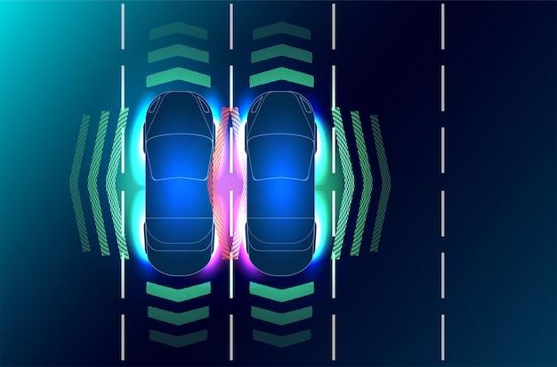 Automatyczny układ hamulcowy pozwala uniknąć wypadku samochodowego.