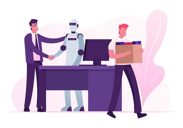 Automatyzacja, futurystyczne technologie i koncepcja sztucznej inteligencji. płaskie ilustracja kreskówka