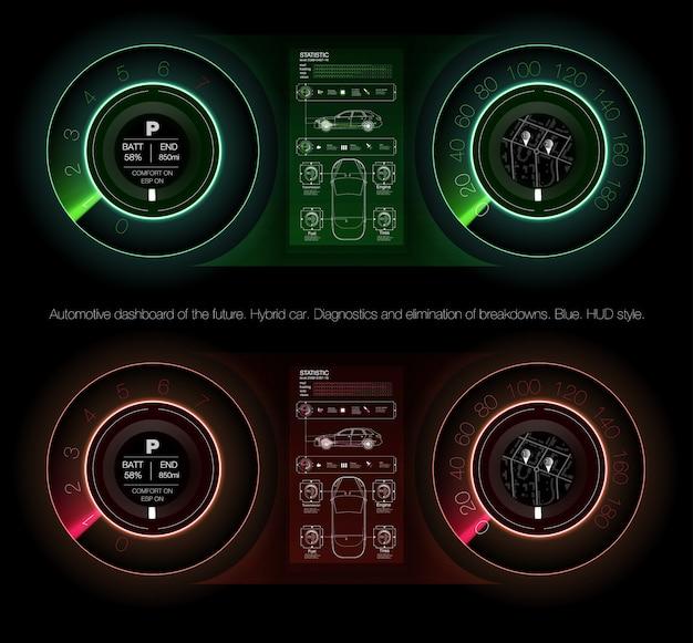 Automotive dashboard przyszłości. samochód hybrydowy. diagnostyka i eliminacja awarii.