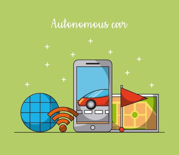 Autonomiczna aplikacja mobilna telefon komórkowy gps nawigacja flaga mapa sygnału