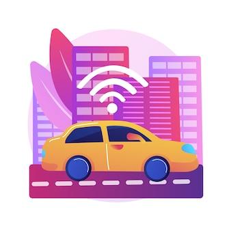 Autonomiczna jazda ilustracja koncepcja abstrakcyjna. technologia zautomatyzowanej jazdy, jazda próbna, autonomiczna ciężarówka, samojezdny samochód, przyszły system transportowy, brak ludzkiego pojazdu.