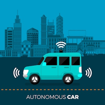 Autonomiczne, autonomiczne czujniki samochodowe technologia inteligentnego samochodu bez kierowcy