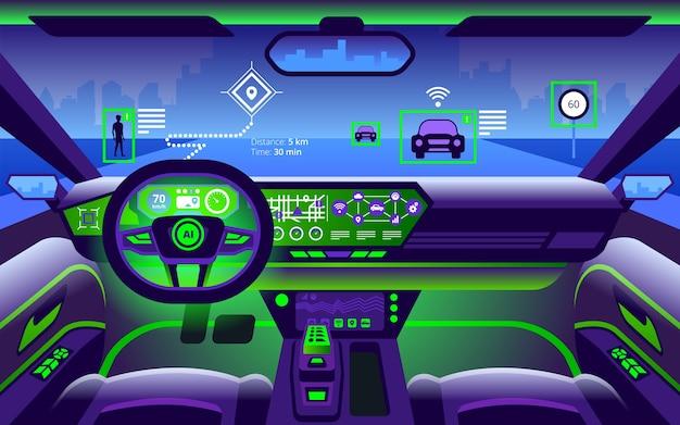 Autonomiczne, inteligentne wnętrze samochodu samodzielna jazda