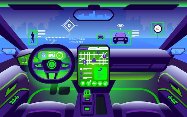Autonomiczne wnętrze inteligentnego samochodu. samodzielna jazda po krajobrazie miasta. wyświetlacz pokazuje informacje o poruszającym się pojeździe, gps, czasie podróży, skanowaniu odległości aplikacji assistance.