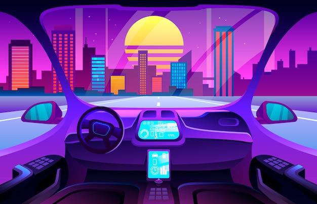 Autonomiczne wnętrze inteligentnego samochodu