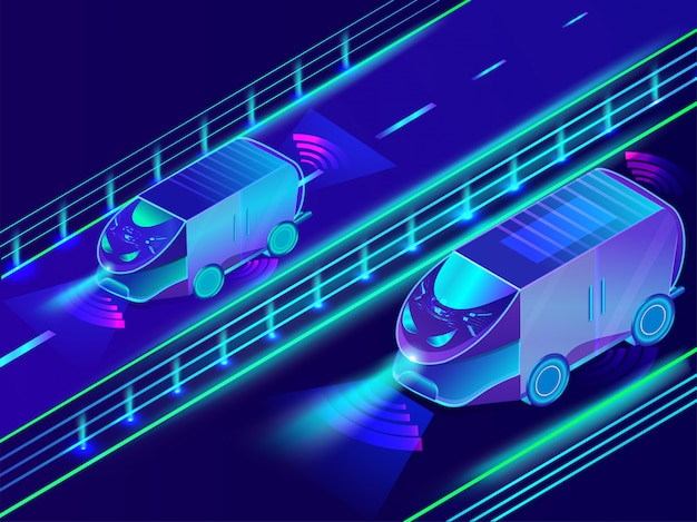 Autonomiczni pojazdy na błękitnym tle.