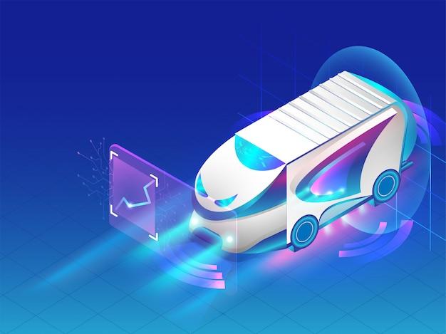 Autonomiczny autobus na niebieskim tle.