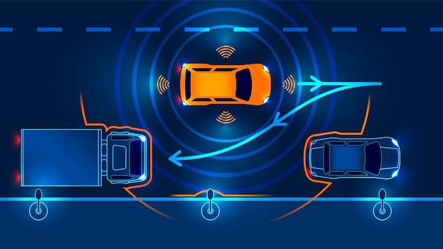 Autonomiczny samochód opuszcza parking