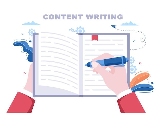 Autor treści lub dziennikarz tło wektor ilustracja do pisania kopii, badań, pomysł na rozwój i powieści lub skryptu książki w stylu płaski