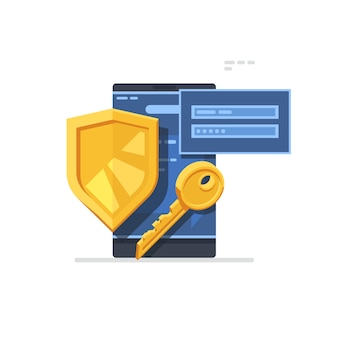 Autoryzuj ekran logowania. koncepcja bezpieczeństwa cyber smartphone z żółtą tarczą i kluczem