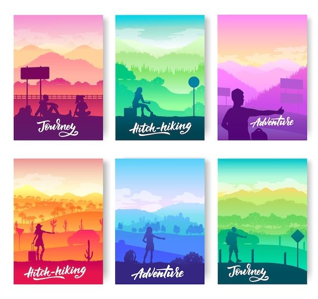 Autostop w różne miejsca na ulotkach świata
