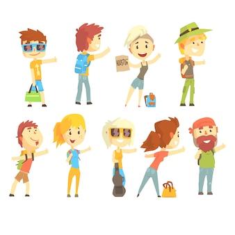 Autostopowicz podróżnik, ustawiony na. cartoon szczegółowe kolorowe ilustracje
