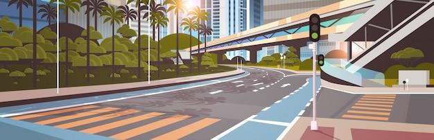 Autostrada droga ulica miasta z nowoczesnymi drapaczami chmur