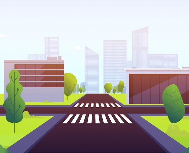 Autostrada ruch drogowy pusta uliczna droga krzyżuje miastowego krajobrazowego budynku crosswalk