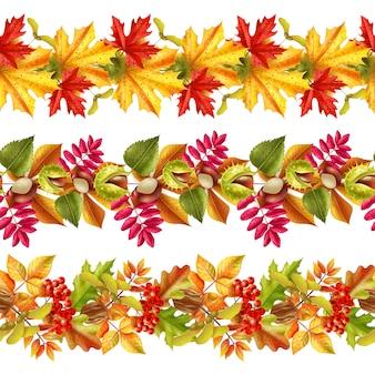 Autumn leaves seamless border