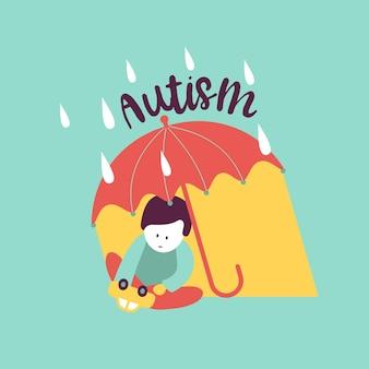 Autyzm. wczesne objawy zespołu autyzmu u dzieci. godło wektor. ikona asd ze spektrum zaburzeń autystycznych u dzieci. oznaki i objawy autyzmu u dziecka.