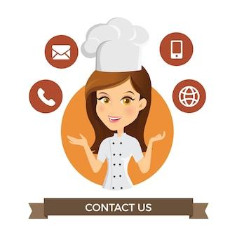 Avatar dziewczyna kontakt z nami informacje usługi ilustracji wektorowych