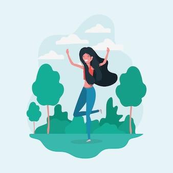 Avatar dziewczyna skacze w parku