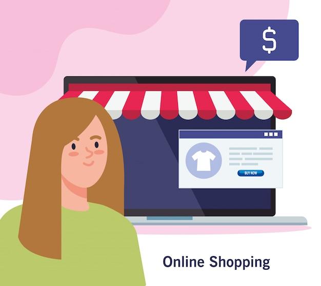 Avatar kobieta i laptop z namiotem zakupy online e-commerce rynku detalicznego i kupić ilustrację tematu