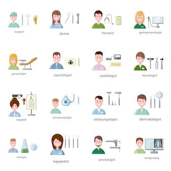 Avatar lekarz kliniki elementów kreskówek. set ilustracyjny medycyna personel w klinice. zestaw elementów lekarz awatar.