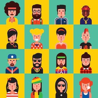 Avatar płaski zestaw ikon